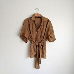 ZARA Tan Short Sleeve Tie Front Boho Blouse Sz XS